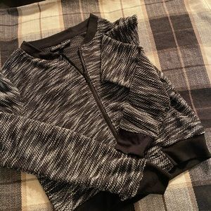 Black and white zip up sweater